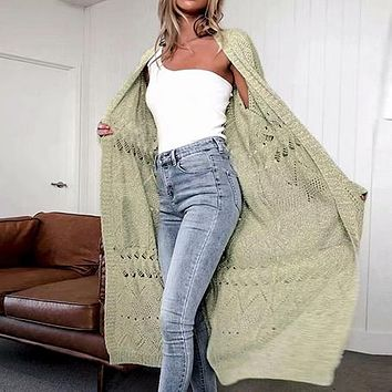 Long Knitted Cardigans Women Solid Hollow Out Female High Fashion Sweater Cardigans