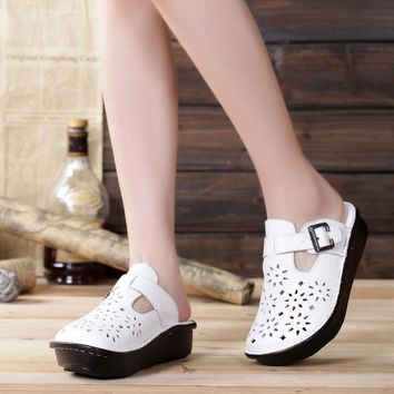 Women Flat Shoes Hand-made Slip on Cut-outs Platform Shoes 100% Authentic Leather Ladies Shoes Flats Female Summer Footwear(889