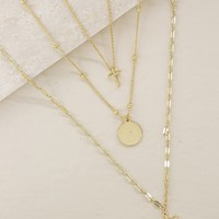 Layer it On Cross and Gold Coin Necklace Set