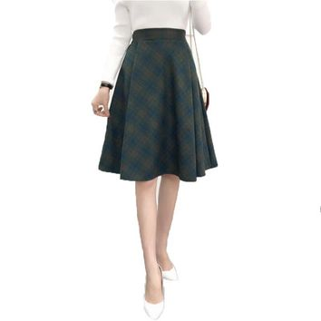 Plaid Skirt Women Long A-Line Skirt British Style Woolen Plaid Skirts Kilt 2017 Winter Vintage Wool Tartan Umbrella Plaid Skirts