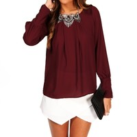 Wine Zipper Cuff Blouse