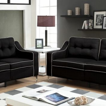 2 pc glenda collection contemporary black fabric sofa and love seat with chrome legs