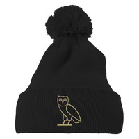 Drake Owl Embroidered Knit Pom Cap