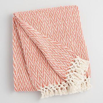 Chili Orange and Ivory Woven Throw with Fringe