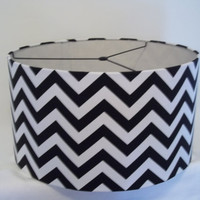 Lamp Shade in black and white chevron print / Drum lampshade for pendant light or any lamp