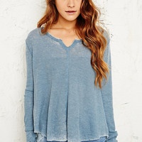 Ecote Swing Split Neck Top in Blue - Urban Outfitters