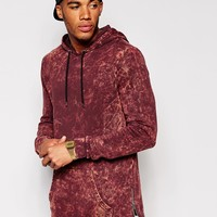 ASOS Longline Hoodie With Acid Wash & Side Zips
