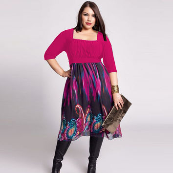 Sexy Printing Stitching Pencil Plus Size Mid-Calf Dress