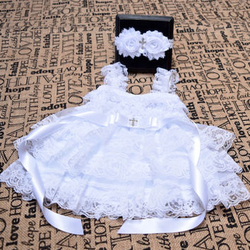 Christening Outfit Girls, Baptism Outfit Girls, Christening Dress, Baptism Headband,Christening Headband, Baptism Dress, Cross Headband,