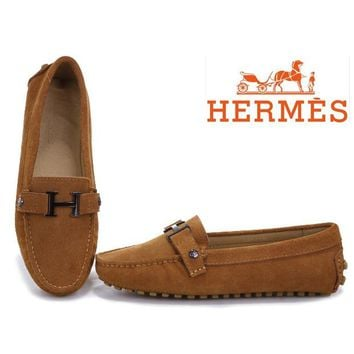 Hermes Women Fashion H Logo Flats Shoes Dancing Shoes