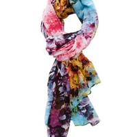 Pink Combo Colorful Floral Print Wrap Scarf by Charlotte Russe