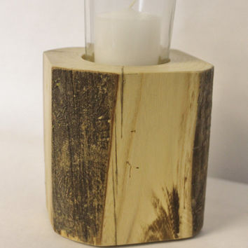 Wood Candle Holder: Eco Friendly Timber Candle Holder, Rustic Modern Candle Block, Modern Rustic Wedding, Wood Block Decor, Natural Wood