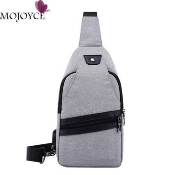 External USB Charge Travel Bags For Men Solid Color Canvas Messenger Bag Crossbody Zipper Versatile Chest Pack Shoulder Bags New