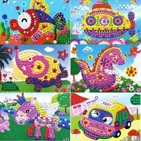 11 Patterns Kids Foam Mosaic Stickers Art Puzzle DIY 3D Diamond Pasted Cartoon Character Children's Educational Toys