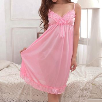 2018 Ice silk Women summer Nightwear Sleepwear Dress Nighties For Women Sleeping Women Night Sleepwear Sexy Nightgown