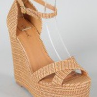 Qupid Katrina-28 Straw X-Band Ankle Strap Wedge