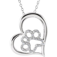 "ASPCA Tender Voices® Sterling Silver 1/6 CTW Diamond Heart Paw 18"" Necklace"