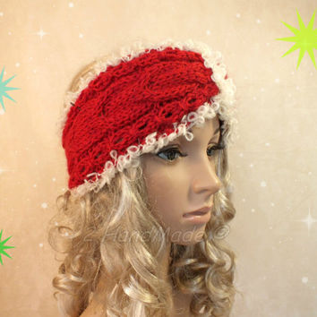 Knitted Santa Christmas Headband Adult Red Cream of White Cable Knit Infinity Wide Headband Turban Merino Mohair Wool  Xmas Gift