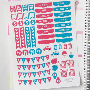 June Monthly Matching ECLP Set Planner Stickers