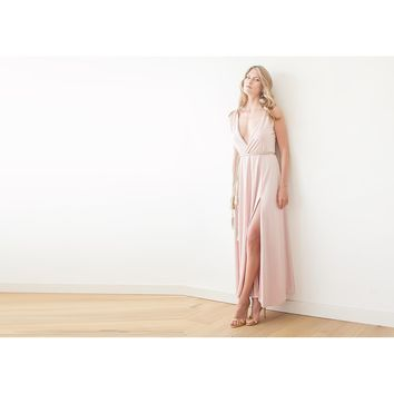 Pink formal maxi dress with front slit 1028