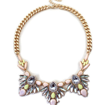 Beaded Flower Statement Necklace