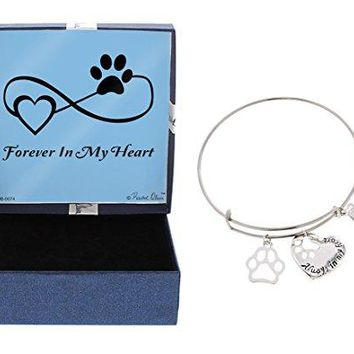 Pet Bereavement Gift Dog Cat Always in My Heart SilverTone Heart Paw Print Bracelet Jewelry Box