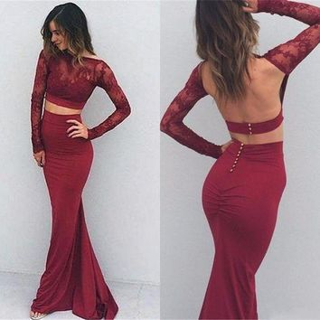 Long Sleeve Two Piece Mermaid Burgundy Prom Dress