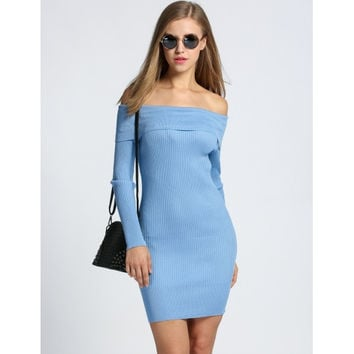 Sexy Women's Off Shoulder Long Sleeve Solid Bodycon Sweater Dress