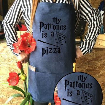 Harry potter Apron Pizza Jean apron Patronus is a Pizza Harry potter funny Harry Potter Kitchen Harrt potter Gift,