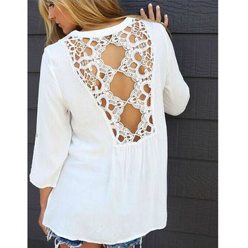 Chiffon Lace Patchwork Round-neck Long Sleeve Shirt [7322497025]