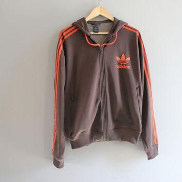US Free Shipping Adidas Hoodie Trefoil Big Logo Brown Hooded Sweatshirt Adidas Zip Up