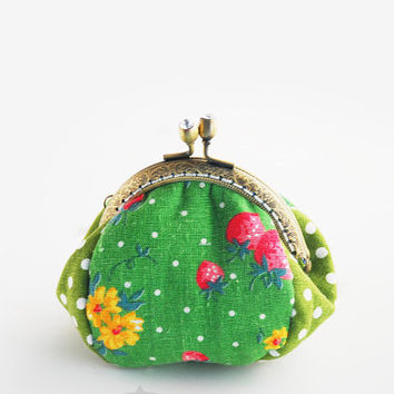 Strawberry and Green Polka dot coin Purse jewellery purse