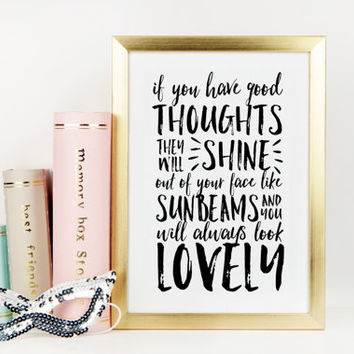 MOTIVATIONAL PRINT,Positive Thoughts Only,Roald Dahl,Good Thoughts,Happy Life,Life Quote,Happy Thoughts,Be Happy,Lovely Words,Typography Art