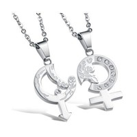 Couple's His and Hers SS Symbol Necklaces - (C-NEC-1080)