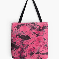 'Pink and black marble texture.' Tote Bag by kakapostudio