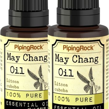 May Chang Essential Oil 2 Dropper Bottles x 1/2 fl oz 100% Pure - Therapeutic Grade
