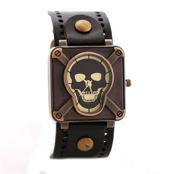 Gothic Skull Head Wristwatch Special Square Dial Quartz Watch Men