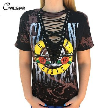 CWLSP 2017 GUN N ROSES Print T Shirt Women American Rock Music Festival Tops Hollow Out V Neck Tees lace up kawaii t-shirt