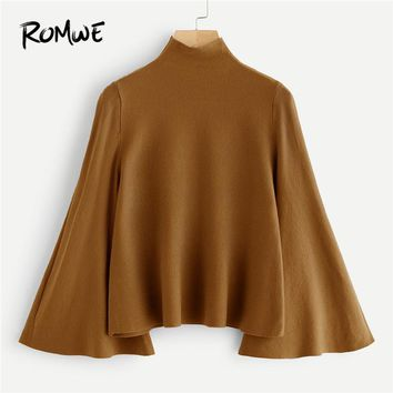 ROMWE Mock Neck Bell Sleeve Jersey Sweater Women Elegant 2018 Autumn Winter Camel Plain Flounce Sleeve Clothing Spring Pullovers