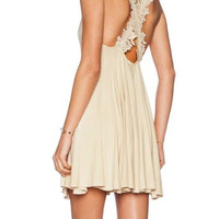 Beige Sleeveless Cross Lace Strap Mini Dress