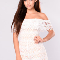 Try Harder For My Love Romper - White