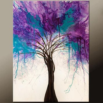 Abstract Canvas Tree Art Painting 22x28 Original Contemporary Paintings by Destiny Womack - dWo - When Trees Dream III