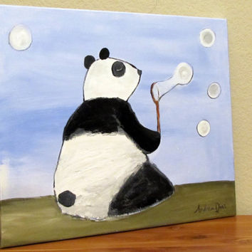 Panda Whimsical Painting Childrens Art Kids Room by andralynn