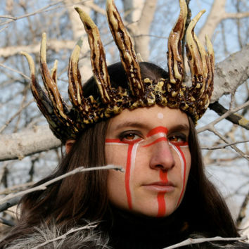 MADE TO ORDER - faux horn crown larp headdress medieval renaissance burning man bones barbarian headpiece costume king evil queen