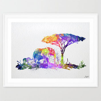 Baby Elephant and Mom Elephant Watercolor Art Print,Wall Art Poster,Home Decor,Wall Hanging,Birthday Gift,Motivational/Inspirational, #241