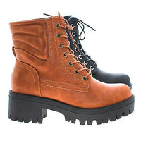 Willy2 Lace Up Military Combat Lug Sole High Heel Ankle Boots