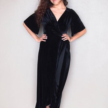 Wrapped In Luxe Black Velvet High Low Maxi Dress