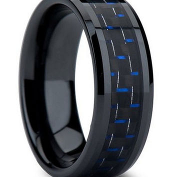 Black Tungsten Carbide Wedding Band Crafted With Blue Carbon Fiber