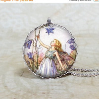 ON SALE Harebell fairy necklace,wildflower, glass tile pendant, Cicely Mary Barker