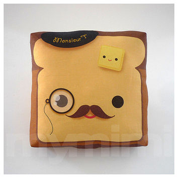 Decorative Mini Pillow, Kawaii Toy Pillow - Monocle Monsieur Toast